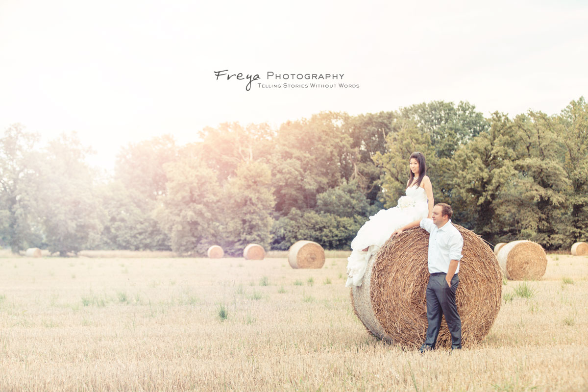 France pre-wedding photos for Chris and Karrance on a wheat straw field